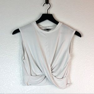 Topshop Crop Top White Knotted Twist Sleeveless 8